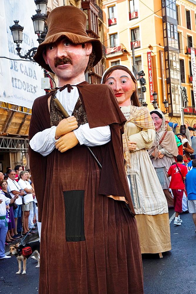 Giants' in 'Semana Grande' Festivity Bilbao Bilbo Vizcaya Bizkaia Pais Vasco Euskadi Basque Country Spain.