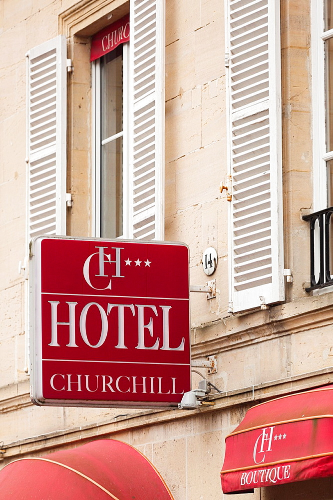 France, Normandy Region, Calvados Department, Bayeux, sign for the Hotel Churchill