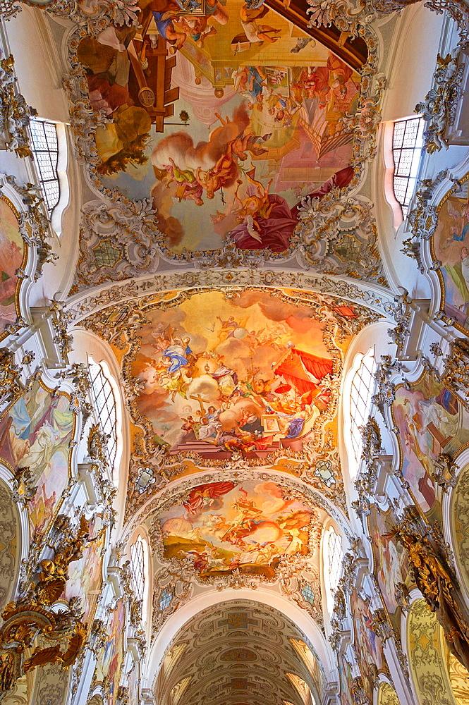Steingaden, Upper Bavaria, St John the Baptist Abbey church, Bavaria, Germany.
