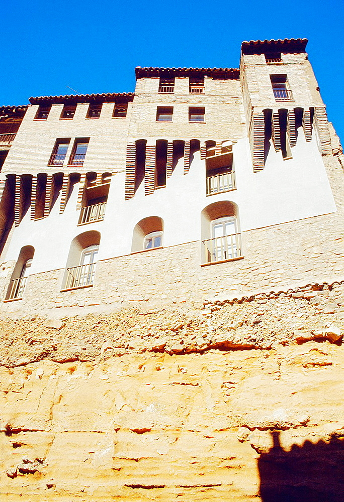 Casas Colgadas, view from below. Tarazona, Zaragoza province, Aragon, Spain.