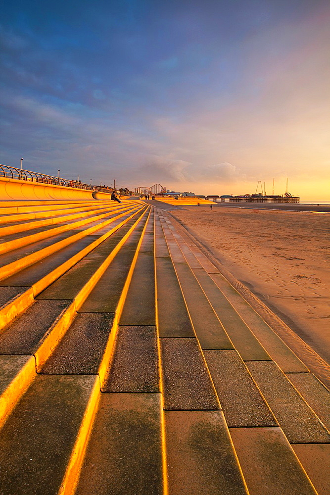 England, Lancashire, Blackpool Blackpool Seafront Steps and Sea Defenses looking towards the South Pier and the Pleasure Beach