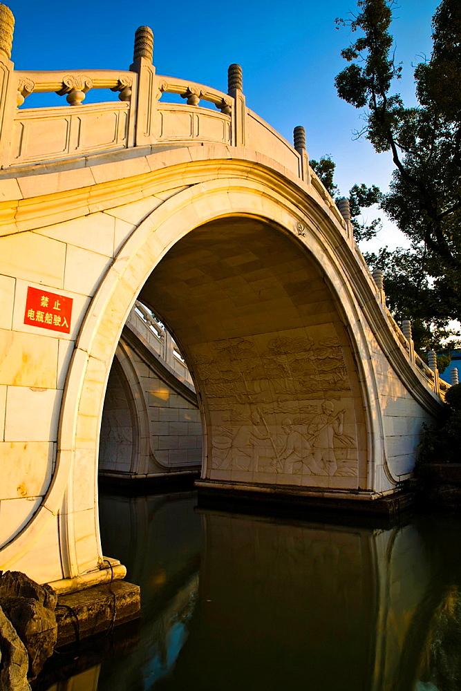 China, Guangxi Zhuang Autonomous Region, Guilin City Bridge in downtown Guilin city