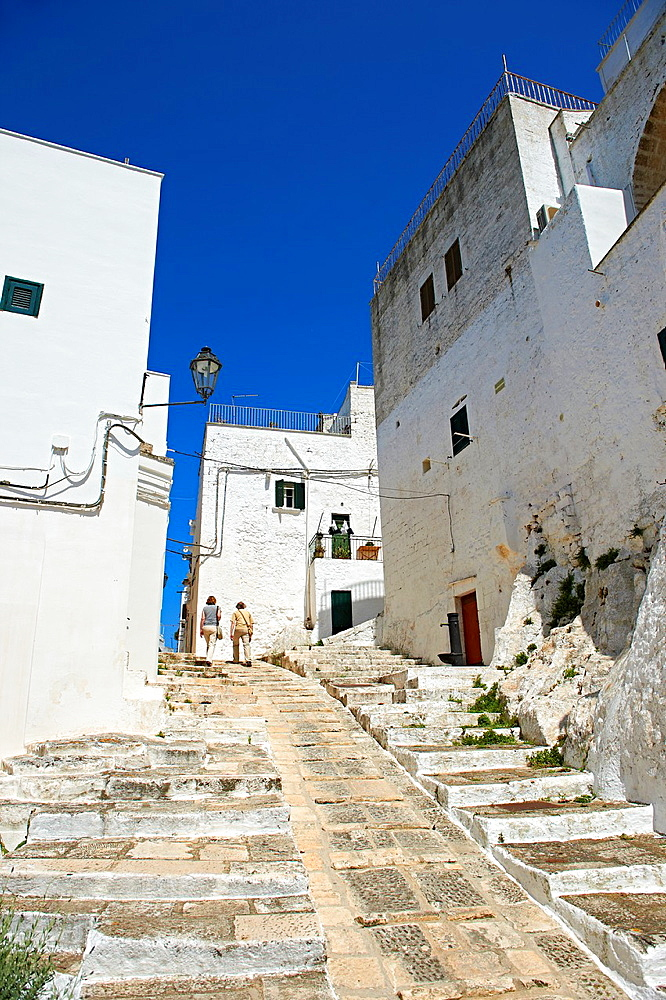 The medieval narrow streets of Ostuni, The White Town, Puglia, Italy