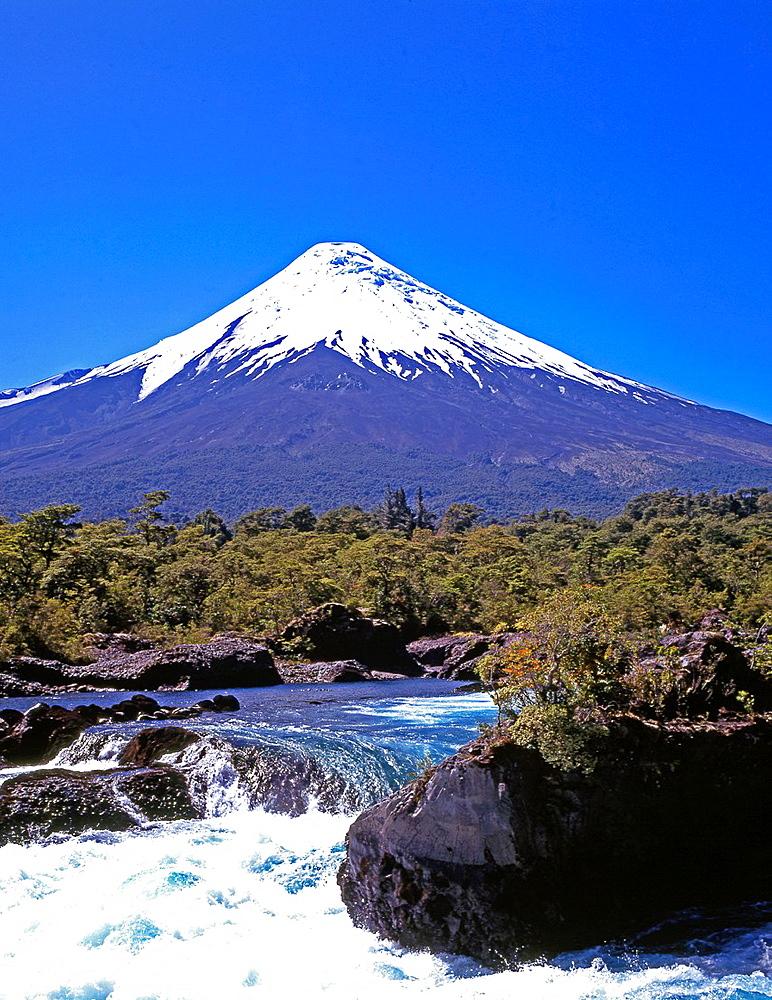 Chile, Lake District, Petrohue Falls, Osorno Volcano