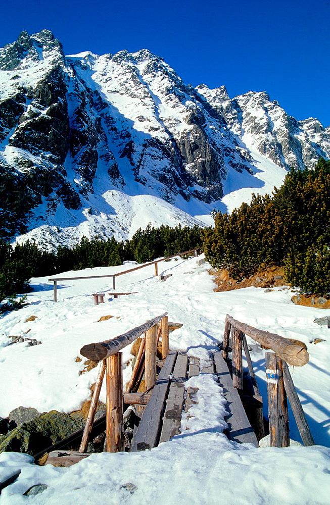 Winter scenery in Mengusovska dolina, High Tatras, Slovakia