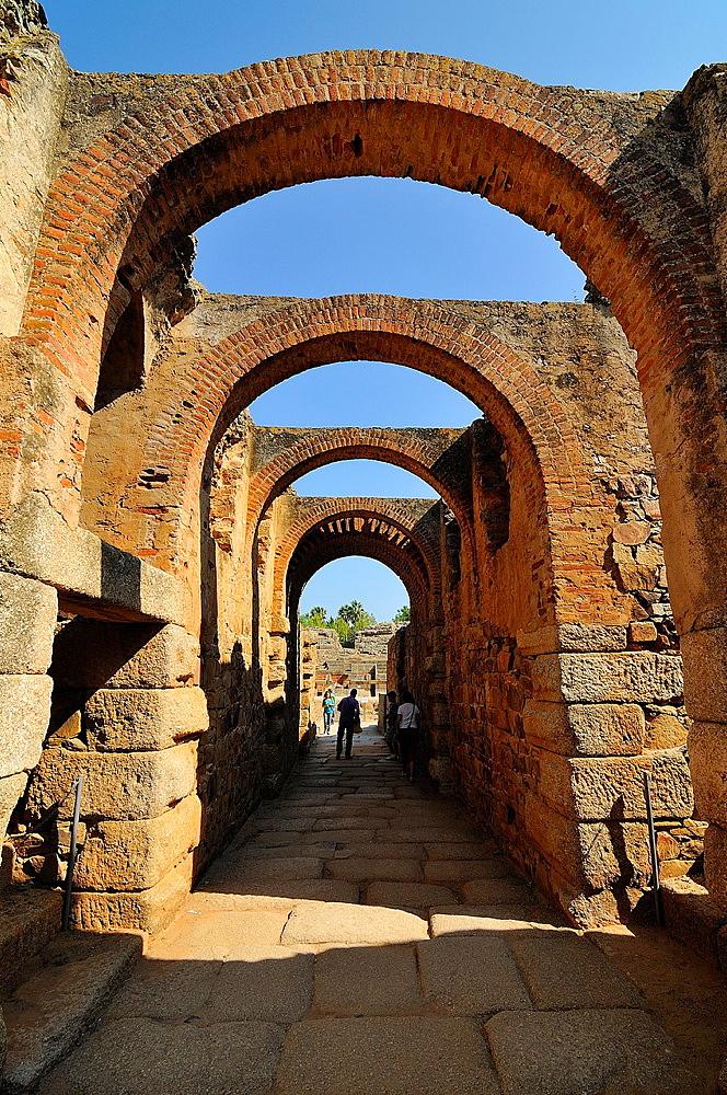 Roman theater in Merida Badajoz province Extremadra Spain