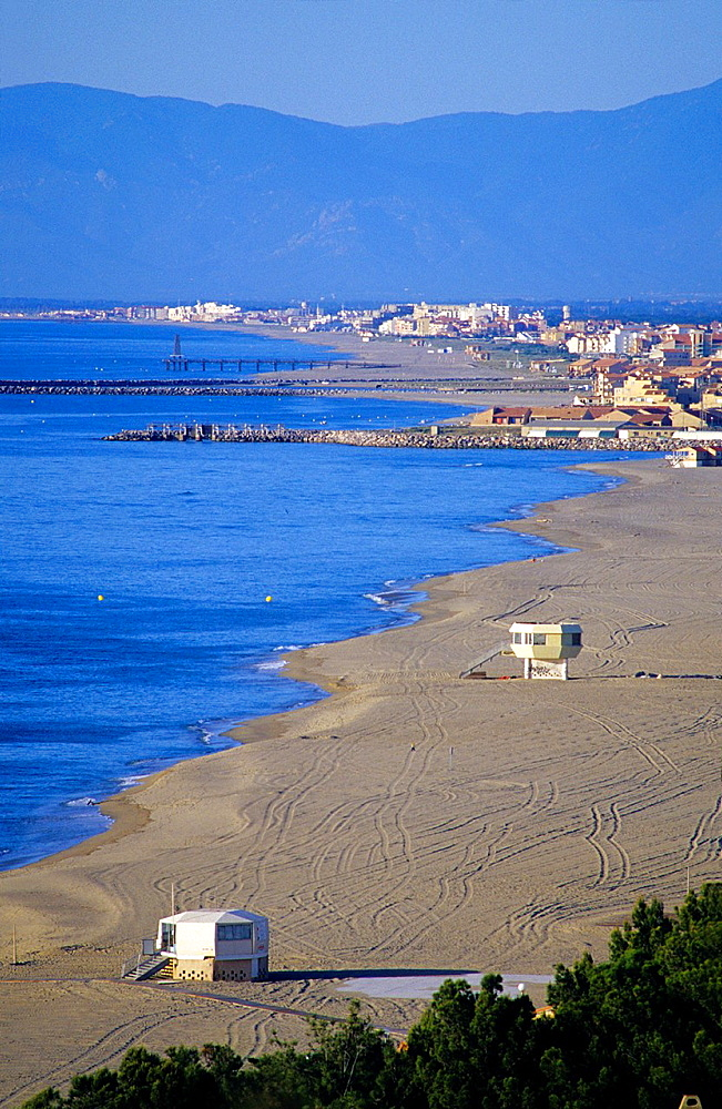 Beach on Radieuse coast and Port Leucate and Port Barcares, Aude/Eastern Pyrenees, Languedoc-Rousillon, France