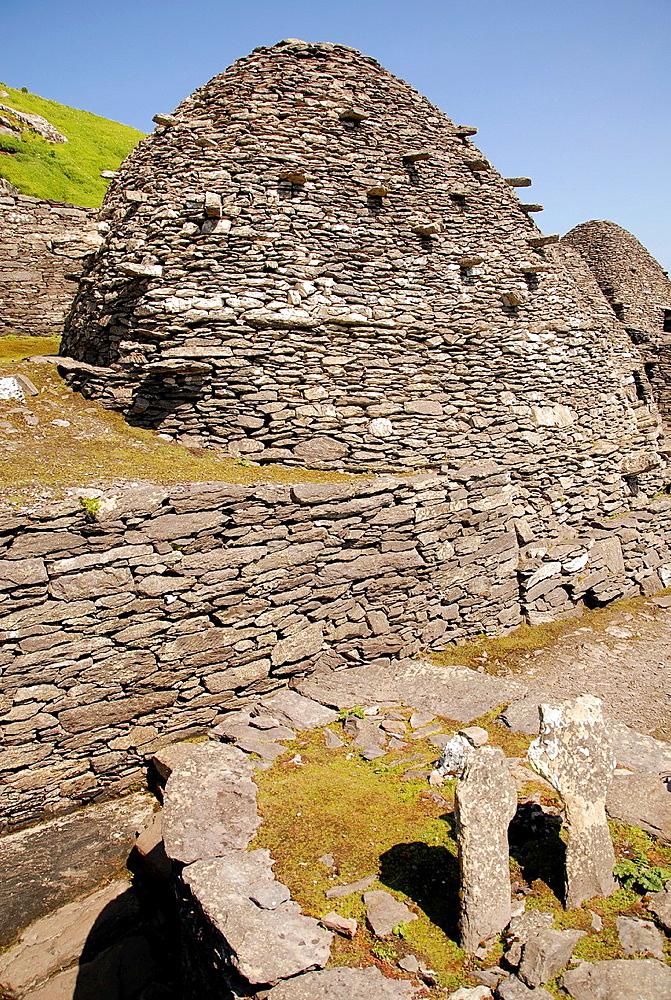 beehives of old monastery at Skellig Michael island, Ireland