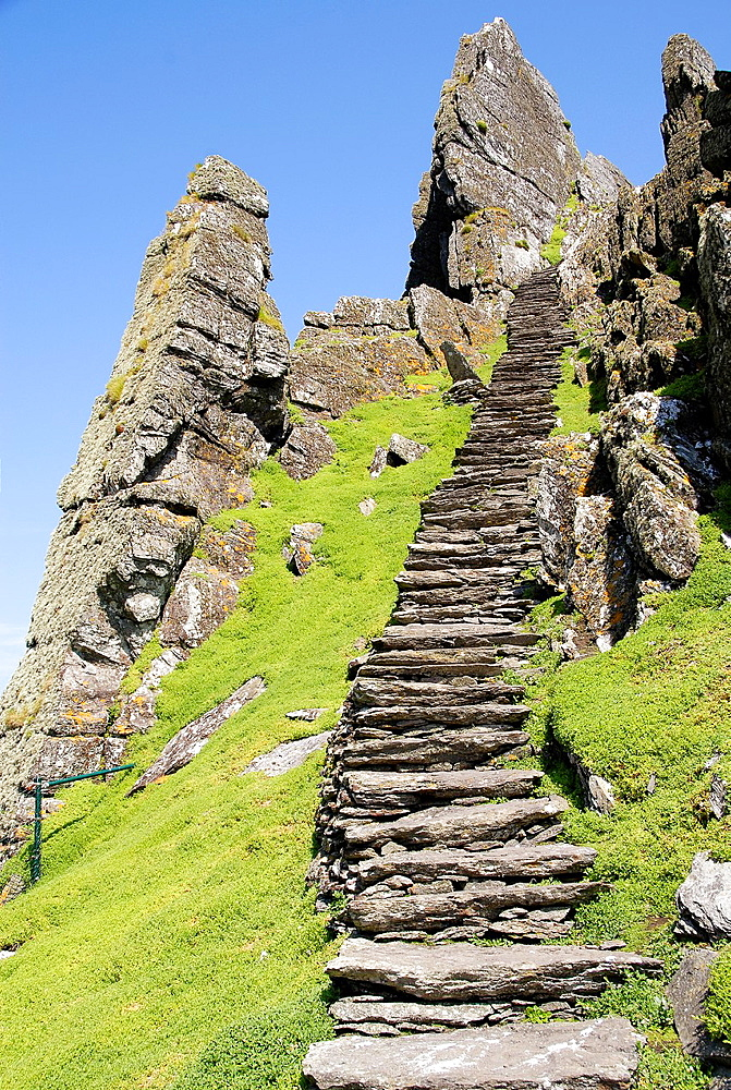 steps to the remains of old monastery at Skellig Michael island, Ireland