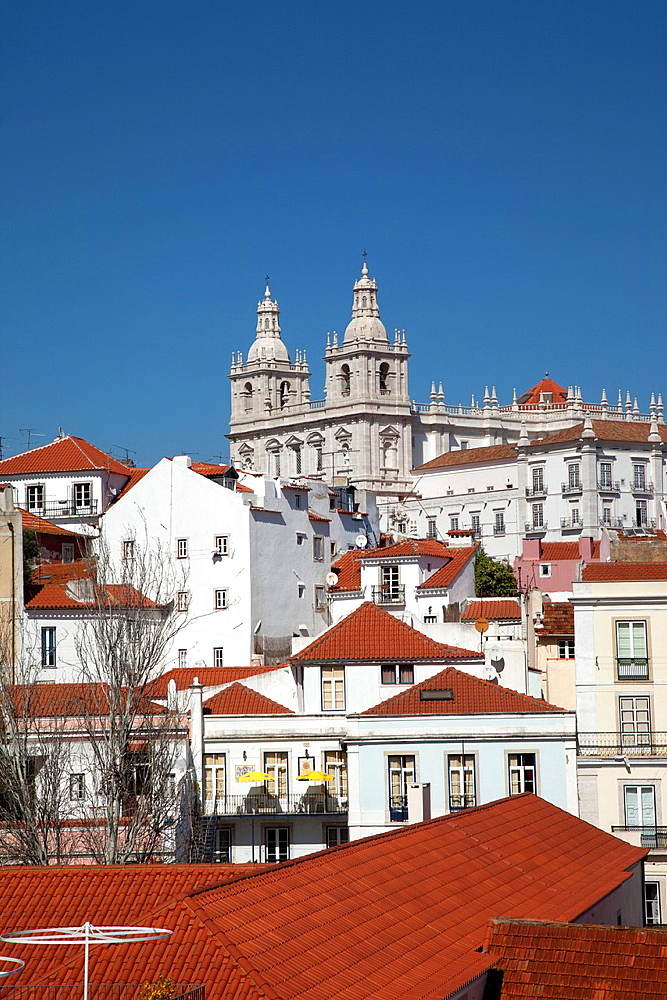 Portugal. Lisbon. View over the Alfama district with the monastery and church of Sao Vicente de Fora.
