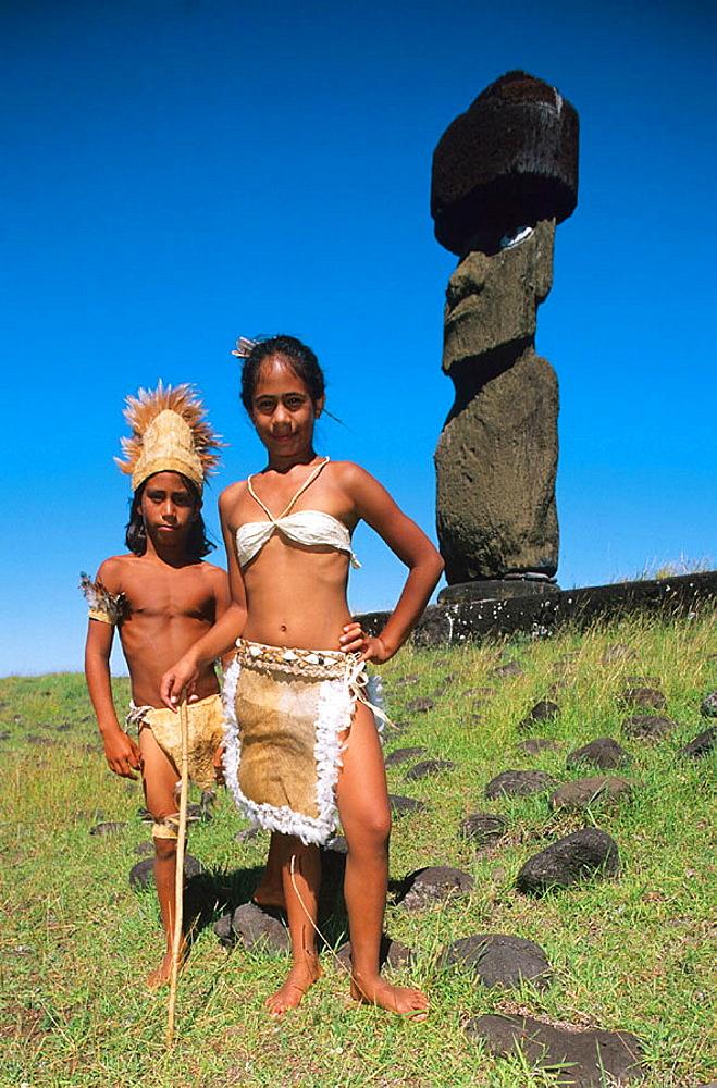 Ahu Ko Te Riku, Tahai ceremonial complex, Easter Island, Chile.
