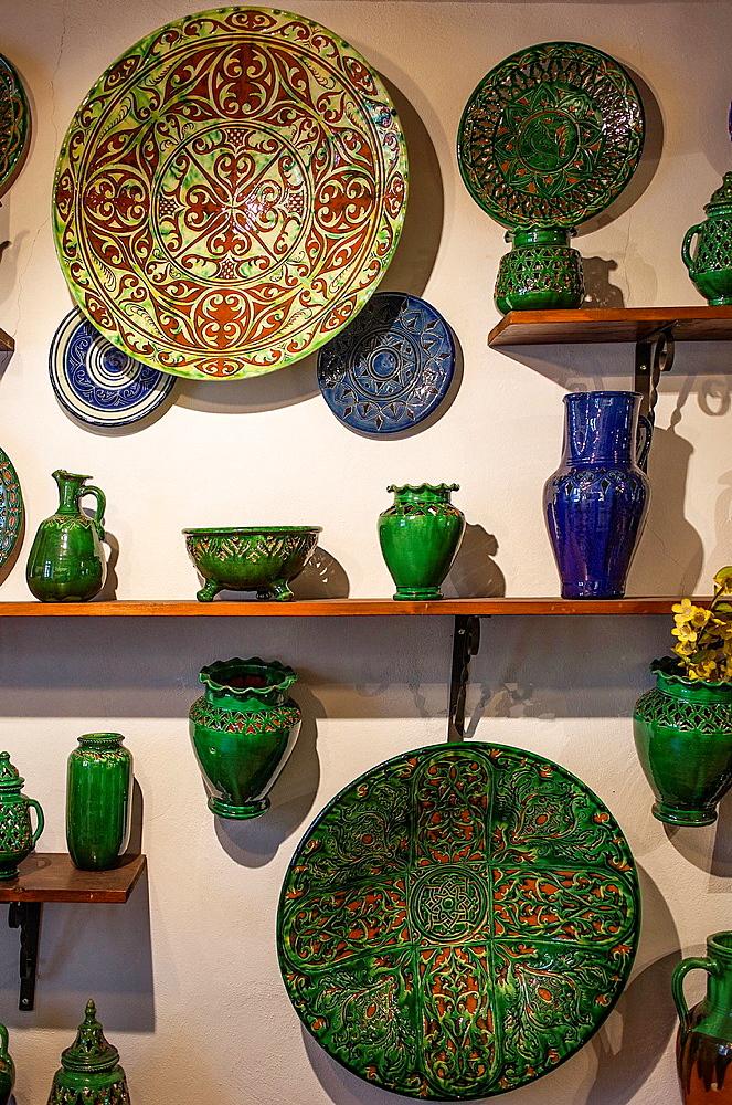 Shop of Alfareria Gongora,pottery,Calle Cuesta de la Merced 32,Ubeda, Andalusia, Spain