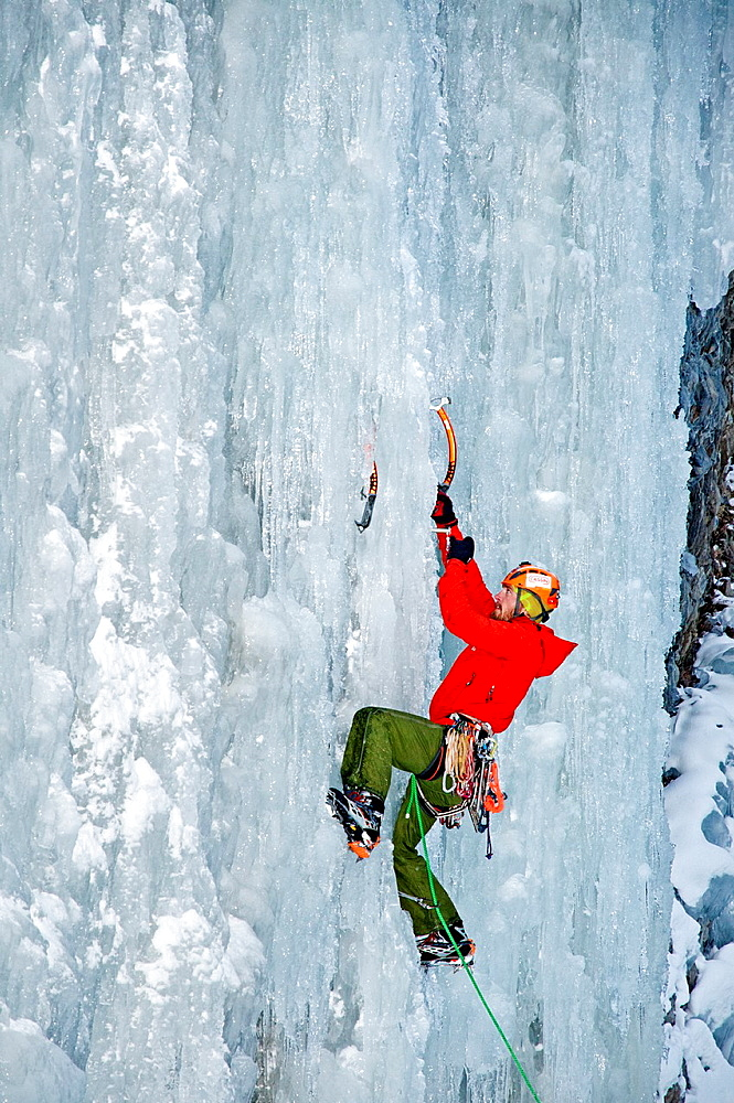 McLean Worsham ice climbing Genesis which is rated WI-4 and located in Hyalite Canyon in the Gallatin Mountains near the city of Bozeman in southern Montana