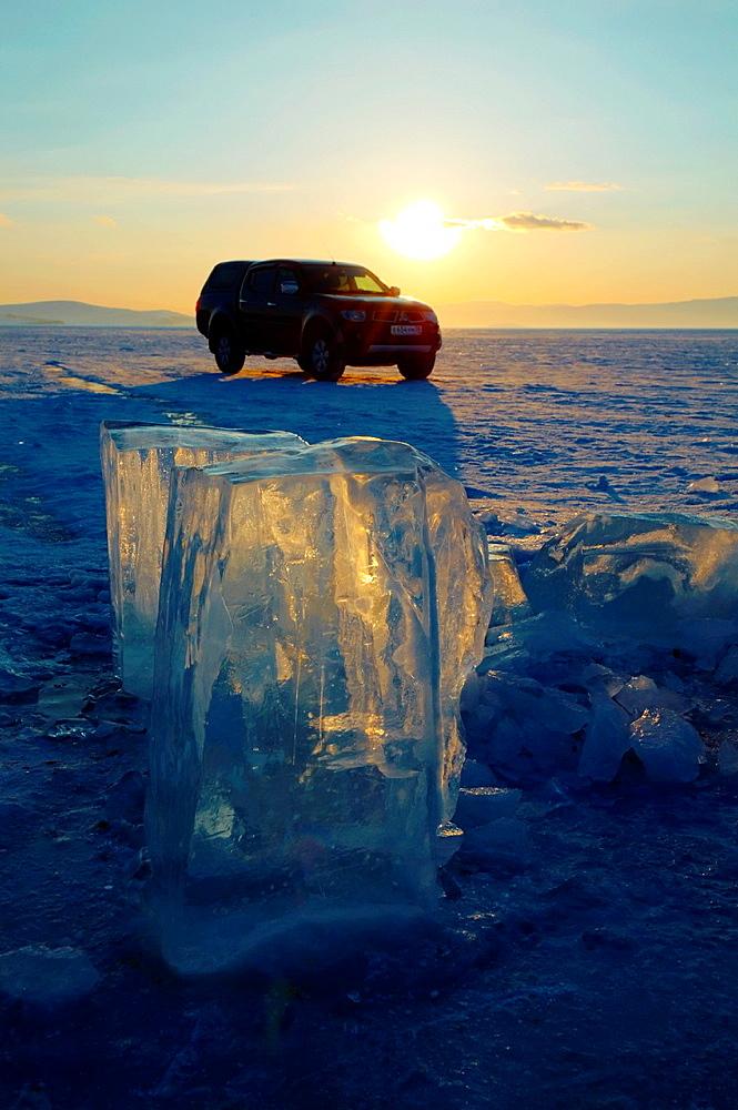 Ice formation, Olkhon island, Lake Baikal, Siberia, Russia, Eurasia