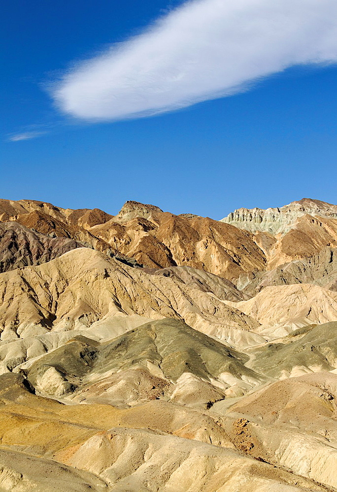 The badlands at the eastern face of the Black Mountains in the Twenty Mule Team Canyon in the Death Valley Death Valley National Park, California, USA