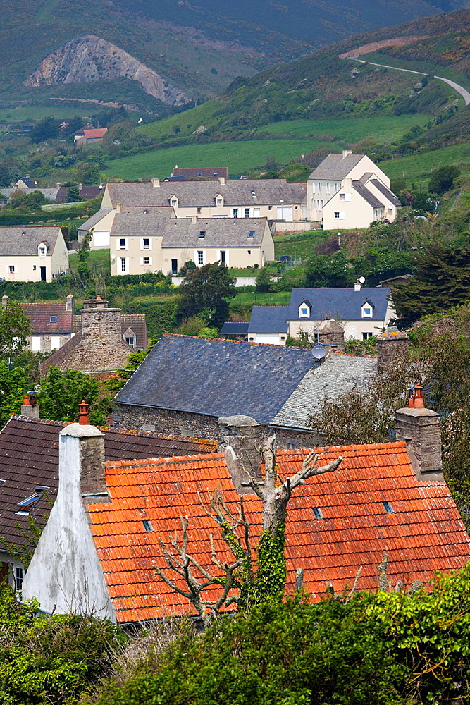 France, Normandy Region, Manche Department, Biville, elevated town view by the Calvaire des Dunes