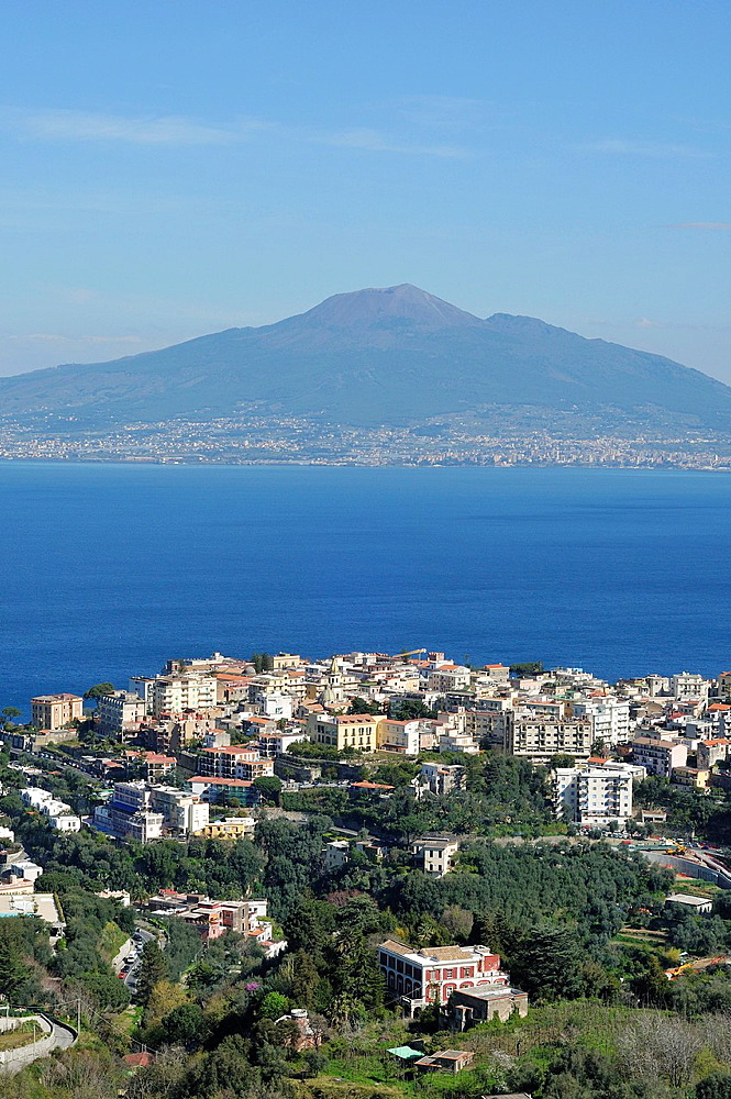 Vico Equense Italy The small coastal town of Vico Equense overlooking the Bay of Naples & Mount Vesuvius Volcano