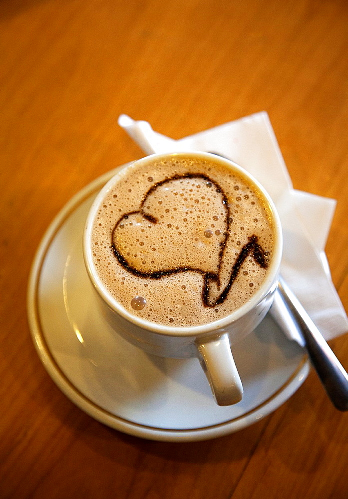 Italian Coffee Company, Cup of Coffee with Heart Art on Froth, in Puebla, Mexico