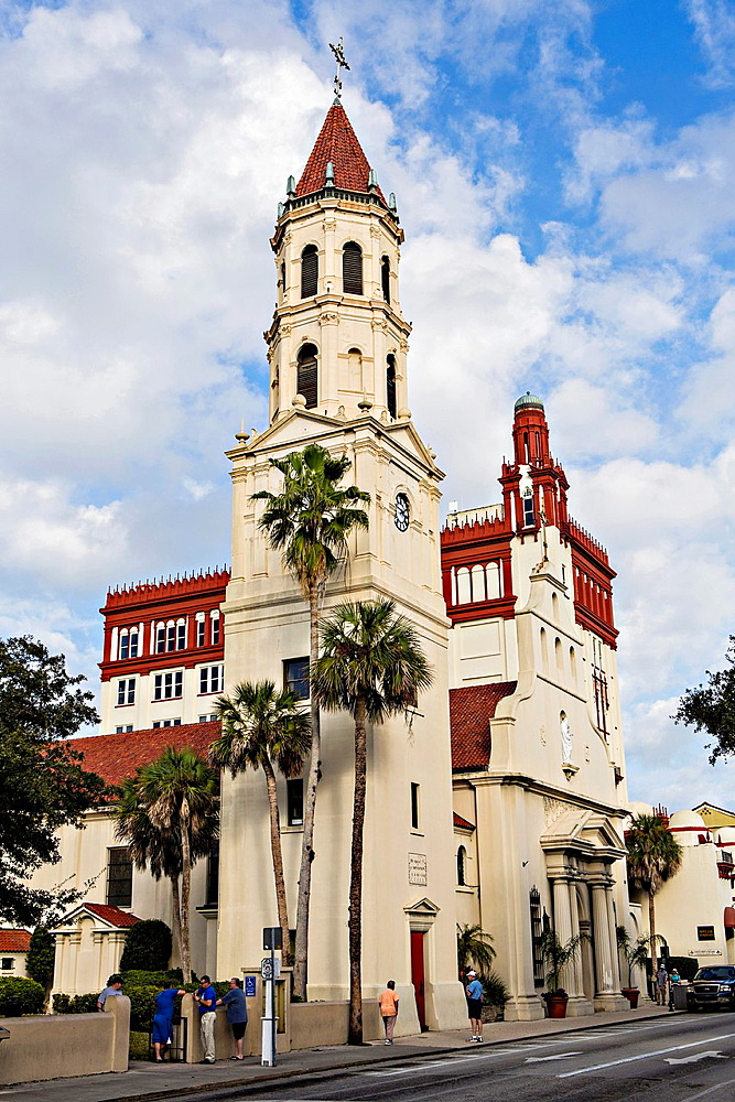 Cathedral Basilica of St Augustine in St Augustine, Florida The cathedral was constructed by Spanish settlers in 1793 and faces the Plaza de la Constitucion