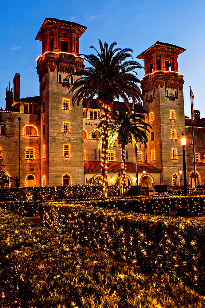 Christmas lights decorate the Lightner Museum in St Augustine, Florida The building was originally the Alcazar Hotel