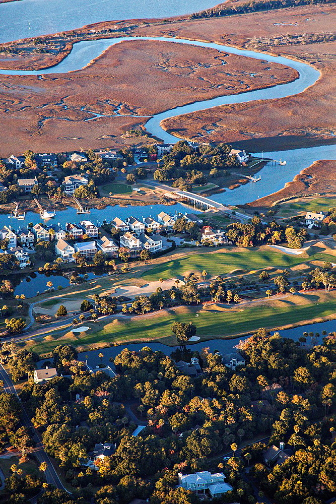 Aerial showing the River Course on Kiawah Island, South Carolina
