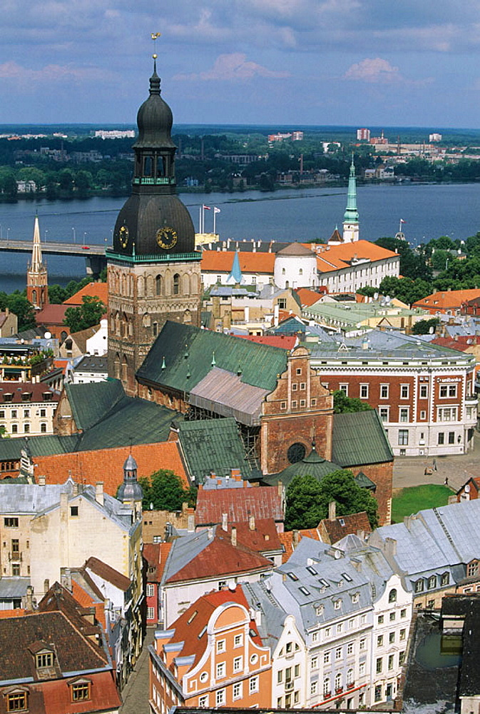 Castle and Dom cathedral, view on old town from St, Peter's church, Riga, Latvia