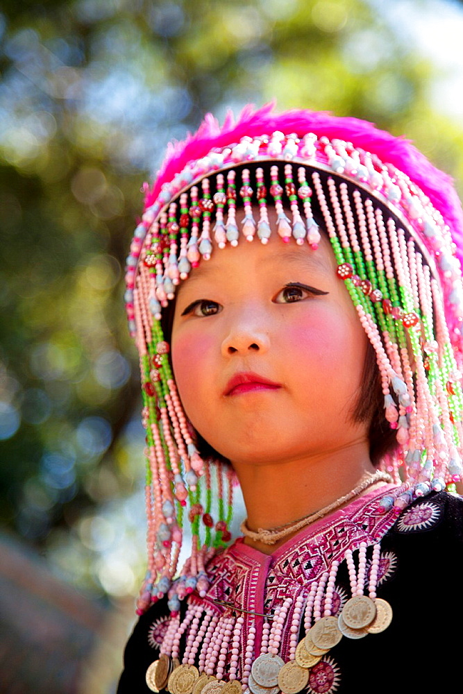 Young Thai girl from the Meo tribe in Doi Suthep temple in Chiang Mai Thailand - 817-426123
