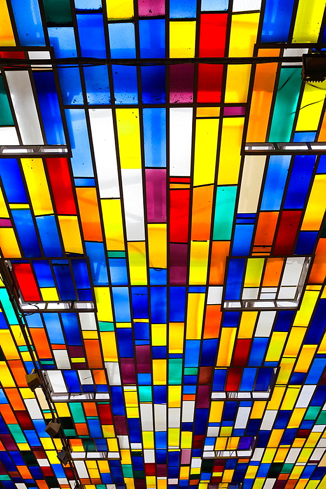 France, Nord-Pas de Calais Region, Pas de Calais Department, Boulogne sur Mer, Haut Ville, Upper City, town hall, stained-glass ceiling