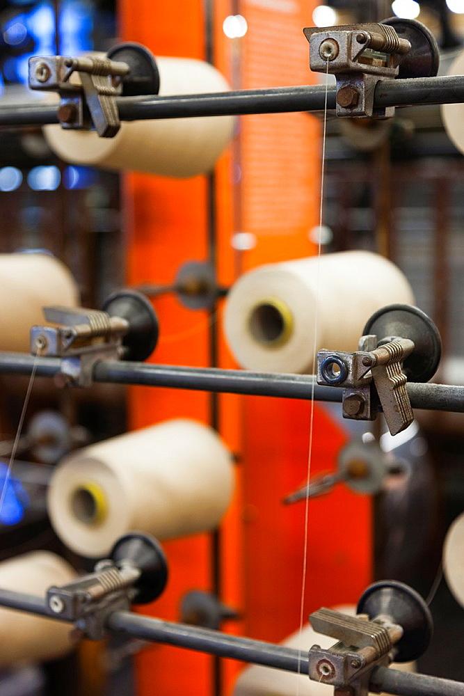 France, Nord-Pas de Calais Region, Pas de Calais Department, Calais, Musee de la Dentelle et de la Mode, museum of lace and fashion, detail of lace-making thread