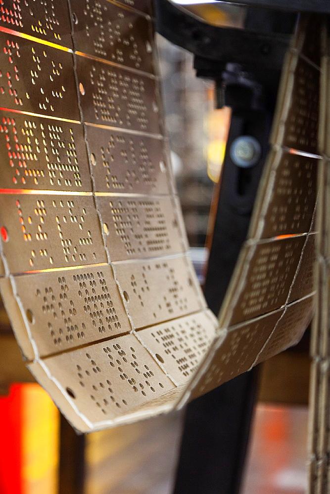 France, Nord-Pas de Calais Region, Pas de Calais Department, Calais, Musee de la Dentelle et de la Mode, museum of lace and fashion, jacquard cards used in mechanical lace-making