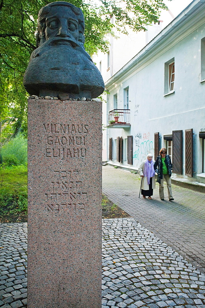 Lithuania, Vilnius, Jewish Quarter, bust of Gaon Elijahu Ben Shlomo Zalman,a talmudist and famous kabbalist, Jewish sage from the 19th century