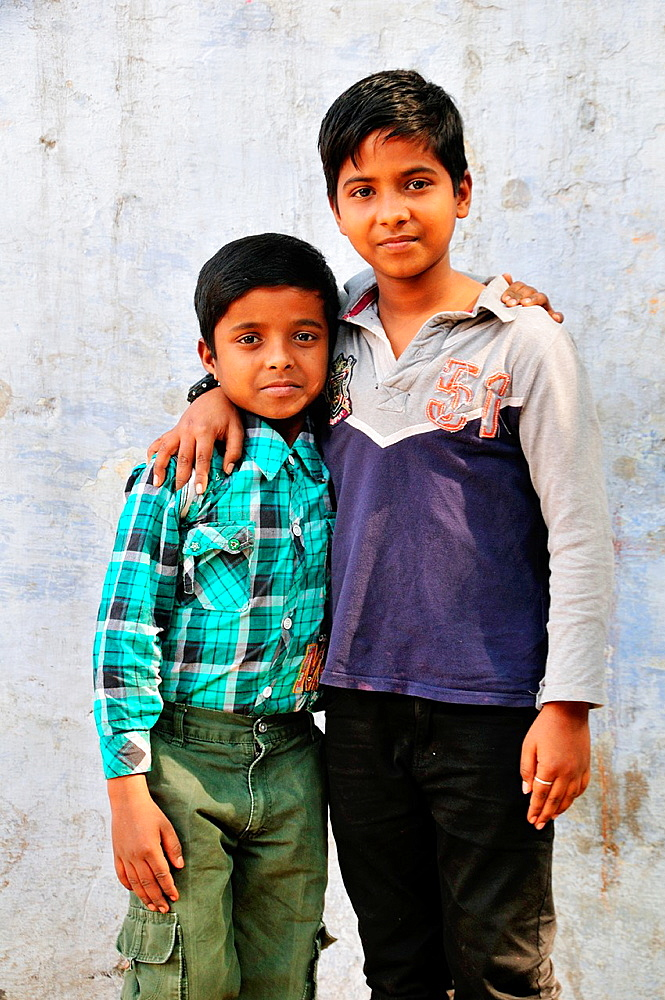 Young boys on the street in New Delhi