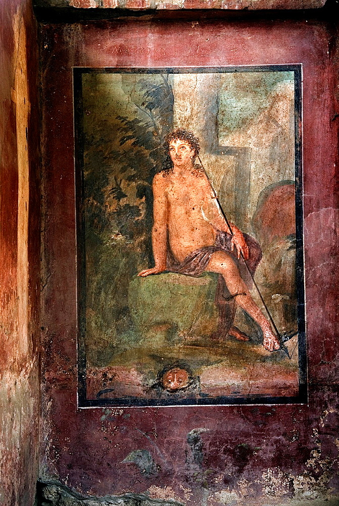 fresco depicting Narcissus in the House of Loreius Tiburtinus also called the House of Octavius Quartio, archeological site of Pompeii, province of Naples, Campania region, southern Italy, Europe
