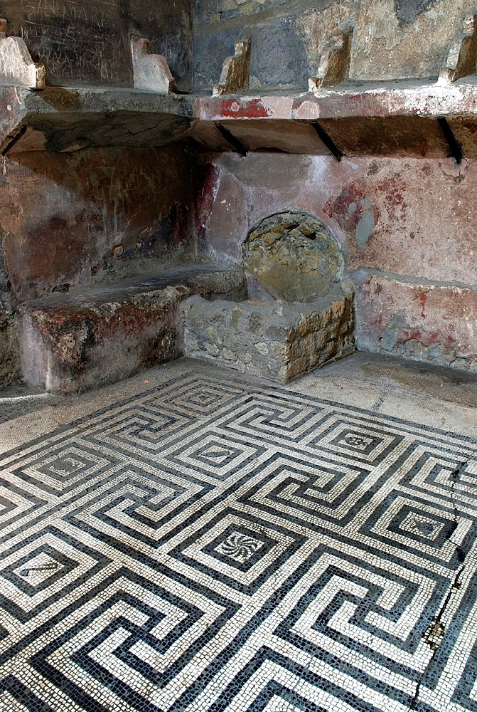 Opus tessellatum floor mosaic inside the Thermae, archeological site of Herculaneum, Pompeii, province of Naples, Campania region, southern Italy, Europe