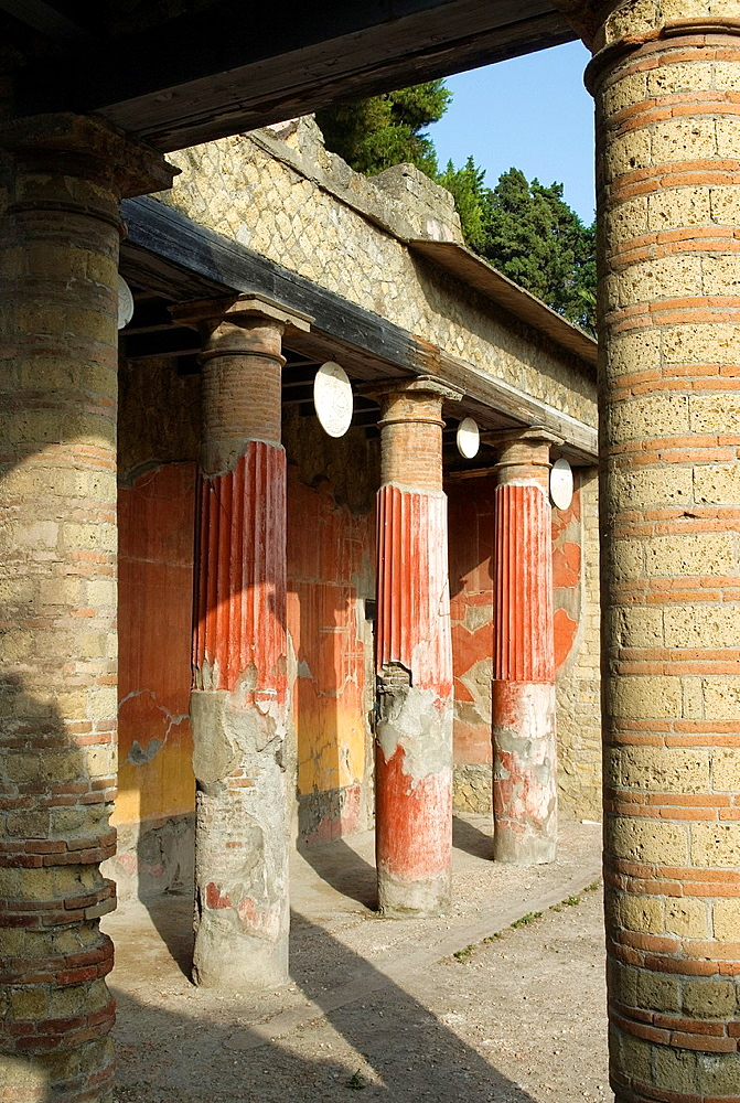 Casa del Rilievo di Telefo, House of the Relief of Telephus, archeological site of Herculaneum, Pompeii, province of Naples, Campania region, southern Italy, Europe