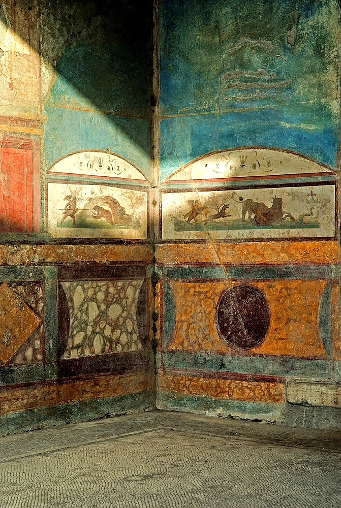 House of the Wild Boar also known as the House of the Ancient Hunt, archeological site of Pompeii, province of Naples, Campania region, southern Italy, Europe