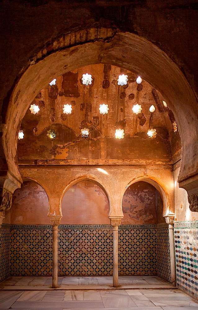 Royal baths, Palacio de Comares, Alhambra Granada, Andalucia, Spain