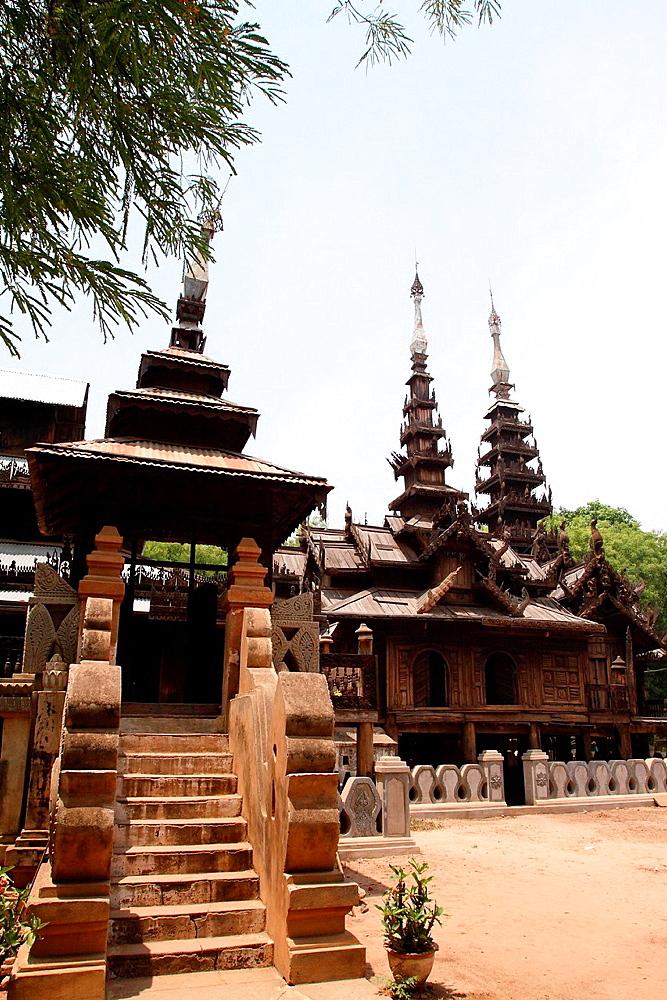 Youqson Kyaung Yoke-sone, the oldest surviving wooden monastery in the Bagan, Myanmar, Burma