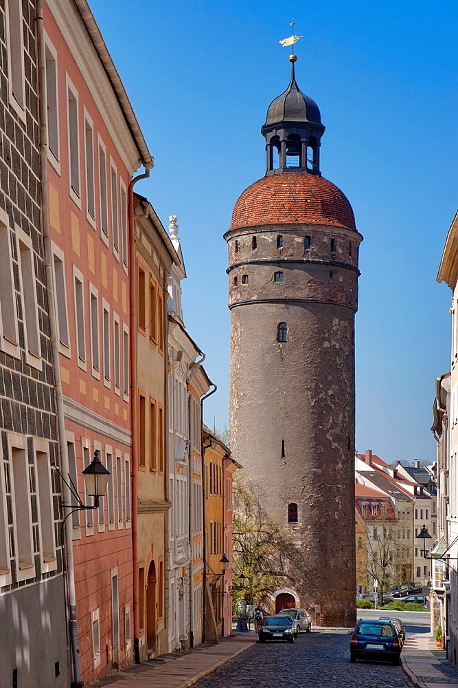 Nikolai tower, 45 metres high, a tower that belonged to the city's fortifications, Gorlitz, Saxony, Germany, Europe