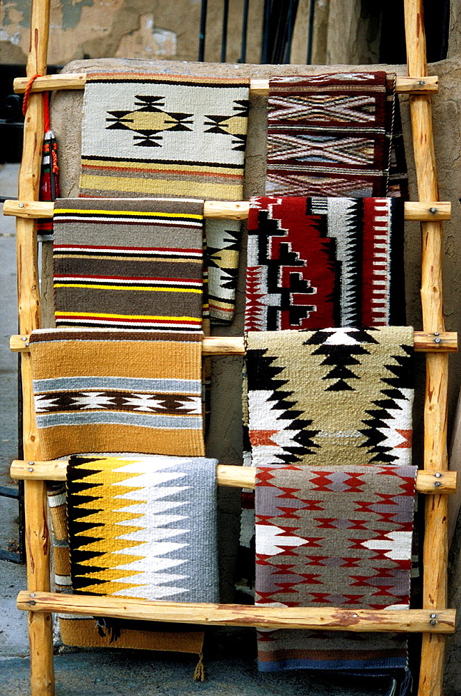 Navajo rugs on display, Santa Fe, New Mexico, USA