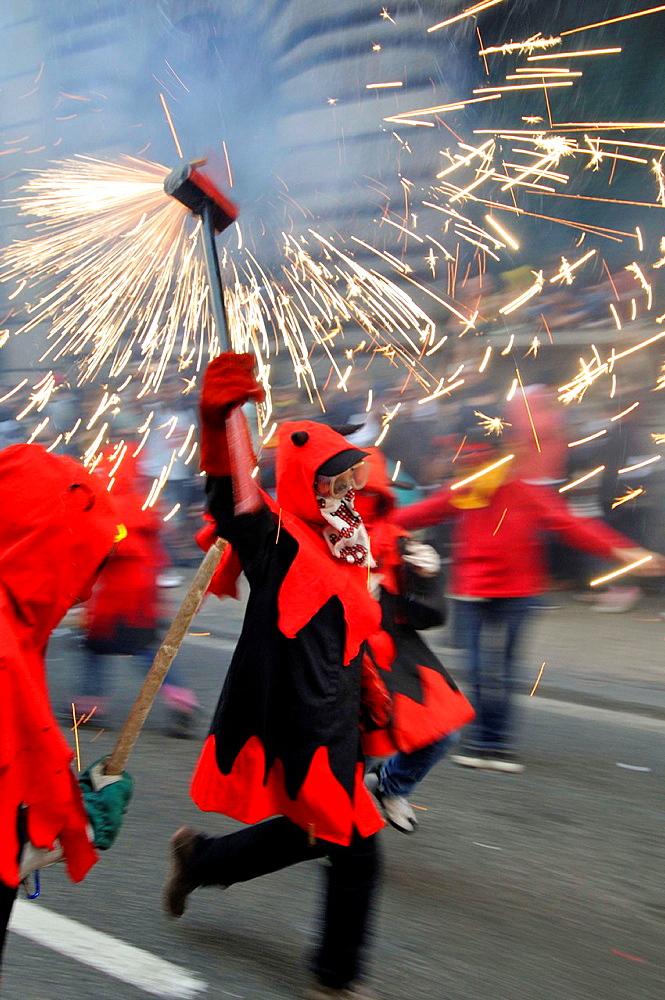 Correfocs', La Merce festival, Barcelona, Catalonia, Spain.