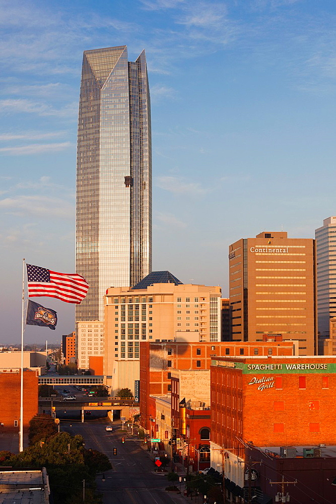 USA, Oklahoma, Oklahoma City, elevated skyline from Bricktown, sunrise