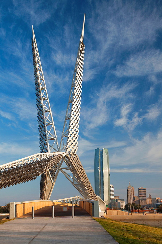 USA, Oklahoma, Oklahoma City, Skydance Footbridge over highway I-40, built 2012, morning