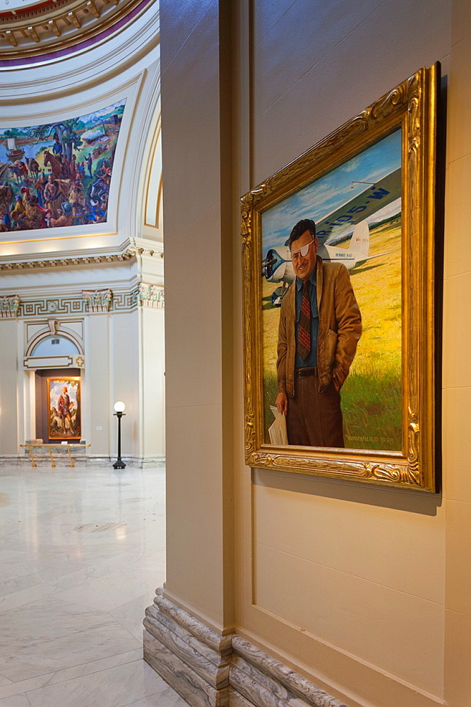 USA, Oklahoma, Oklahoma City, Oklahoma State Capitol Building, painting of aviator Wiley Post