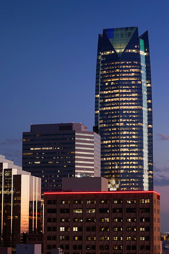 USA, Oklahoma, Oklahoma City, elevated city skyline with Devon Tower, dusk