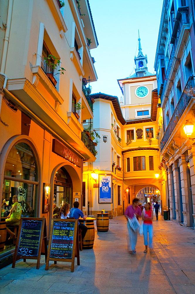 Cimadevilla street, night view. Oviedo, Asturias, Spain.