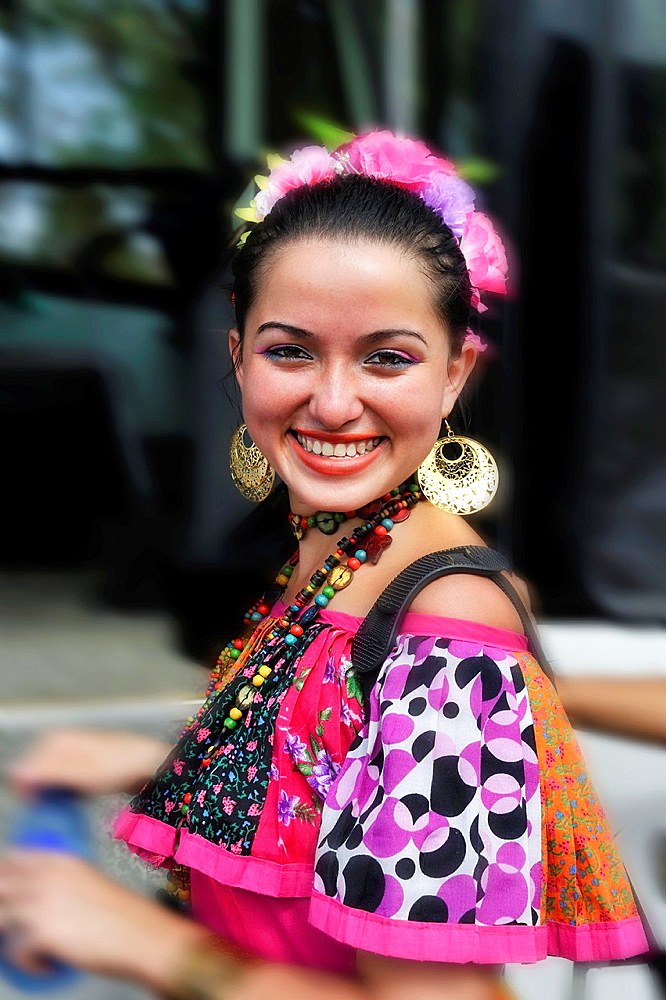 young smiling woman, Panama City, Republic of Panama, Central America