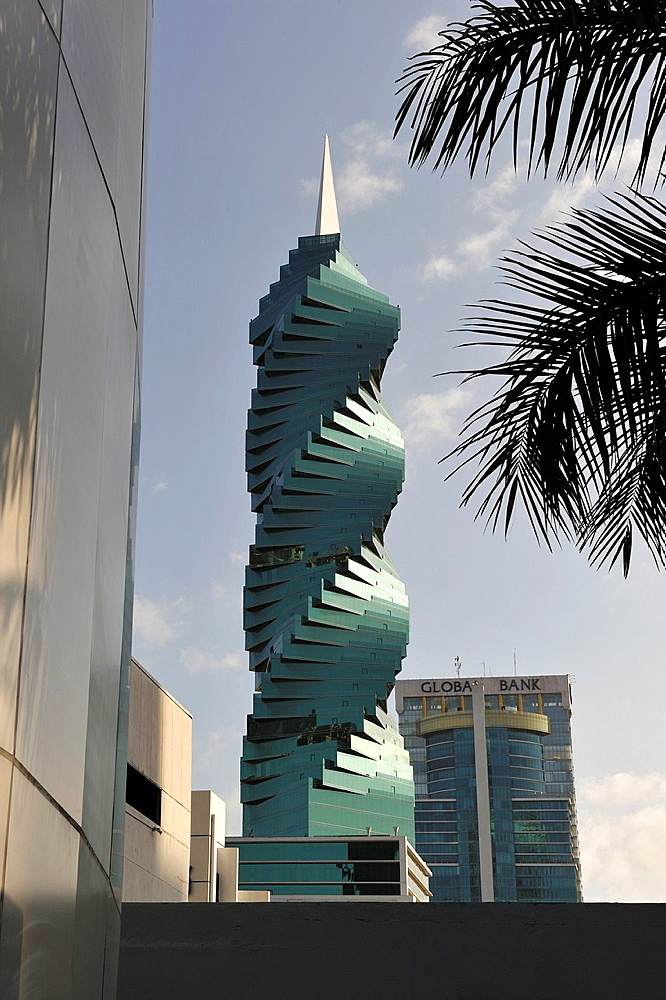 remarkable helical tower named Revolution Tower and also called El Tornillo, designed by Pinzon Lozano, Panama City, Republic of Panama, Central America