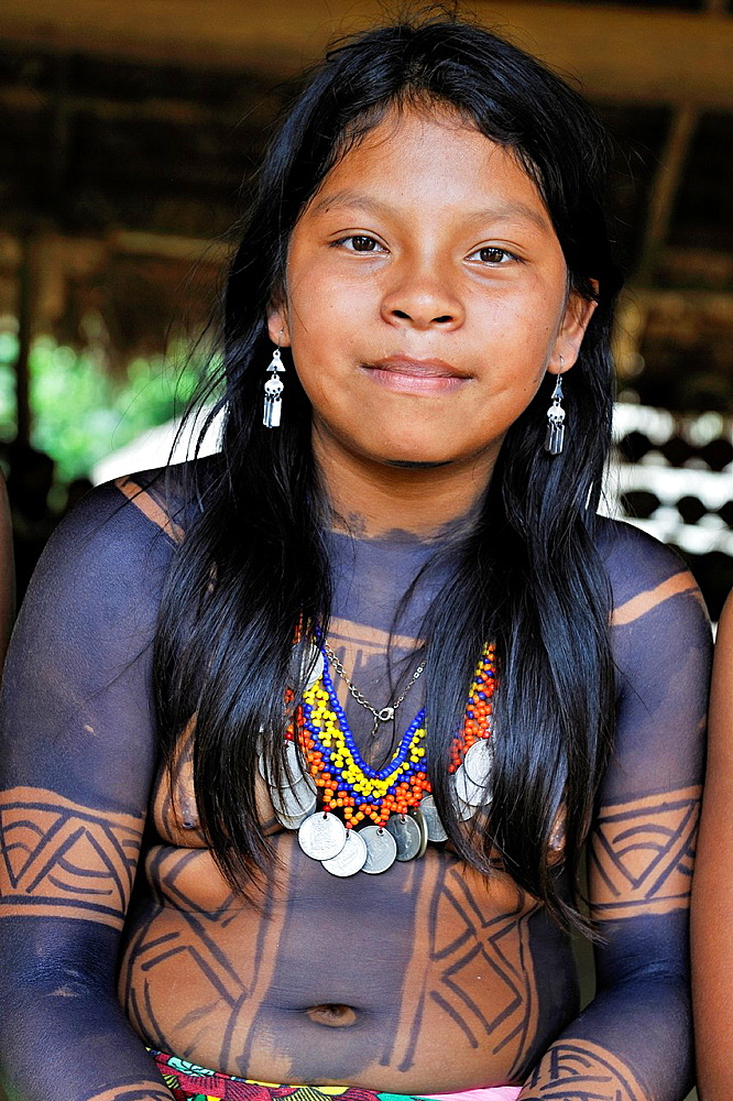 teenager of Embera native community living by the Chagres River within the Chagres National Park, Republic of Panama, Central America