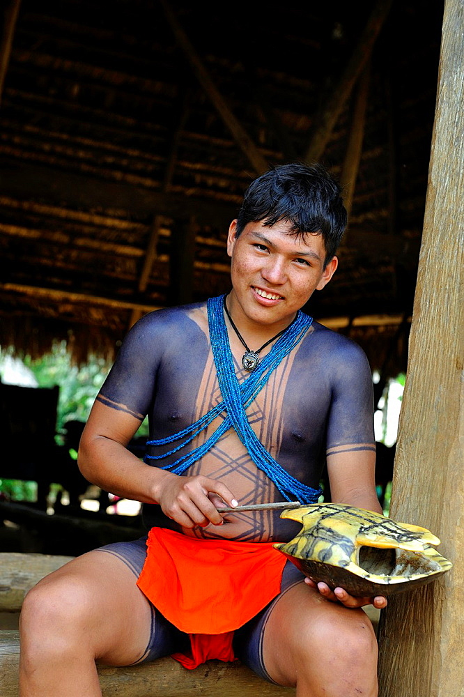 young man of Embera native community living by the Chagres River within the Chagres National Park, Republic of Panama, Central America
